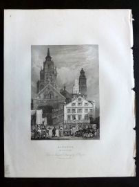After Prout 1834 Antique Print. Mayence on the Rhine, Germany. Mainz